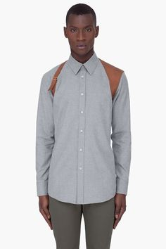 ALEXANDER MCQUEEN Grey Leather Harness Shirt