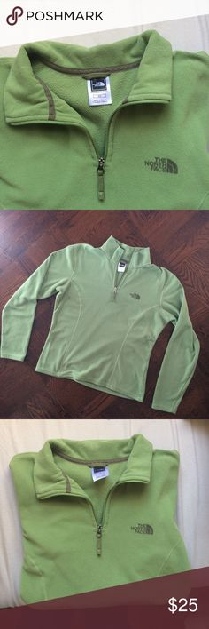 Apple Green North Face Pullover Fleece Quarter Zip North Face Pullover 1/4 zip fleece. Color is apple green. Most like first photo. Some wear (inside is not as soft as it once was) but in great condition. No flaws. Shoulders measure 17 inches across, bust is 19 inches across, sleeves are 23.5 inches long. Total length is 21.5. The North Face Jackets & Coats