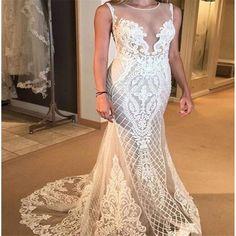 Sexy White Lace Mermaid Wedding Dresses Sweetheart Lace Mermaid Bridal Dress with Court Train O-Neck Vestido de Noiva