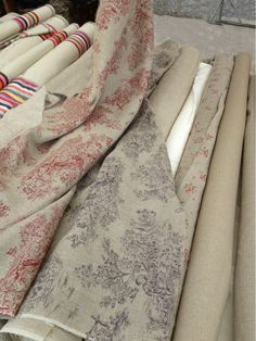 provencal stripes and linen toile