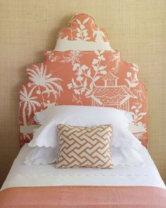 I love this bedroom from Coastal Living - orange, grasscloth walls, crisp white linens, a padded headboard, and best of all - pagoda fabric. Girls Bedroom, Bedroom Decor, Guest Bedrooms, Master Bedroom, Bedroom Ideas, Beach Bedrooms, Attic Bedrooms, Budget Bedroom, Master Bath