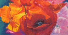 Poppy Medley Oil Pastel Painting by artbymarion on Etsy, €90.00
