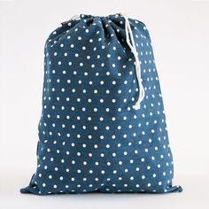 Dots Navy Drawstring Bag
