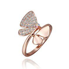 TOP Quality 18K Rose Gold GP Swarovski Crystal Butterfly Ring Size 8 R338 - http://elegant.designerjewelrygalleria.com/swarovski/top-quality-18k-rose-gold-gp-swarovski-crystal-butterfly-ring-size-8-r338/