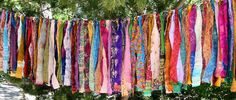 this would be so cute at our camp... Gypsy Fringe All Sari Exotic Flag Garland by ArtToGo on Etsy, $39.00