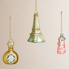 Glass France Boxed Ornaments, Set of 3 | World Market