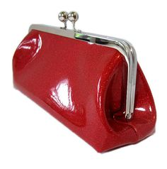 Rockabilly Sparkle Vinyl Clutch  Ruby Red Metal by RetroRedone, $25.00