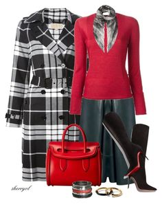 """""""Fall Plaid Coat, Leather Midi And Tall Boots Contest"""" by sherryvl ❤ liked on Polyvore featuring Michael Kors, Yang Li, Christian Louboutin, Alexander McQueen, Marc by Marc Jacobs, Calvin Klein Collection and Wet Seal"""