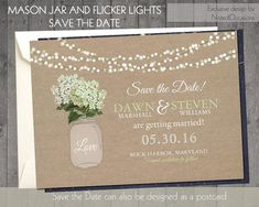 DIY Printable - Save the Date Postcard - String of Lights | Rustic mason jar with burlap Background and Hydrangeas in Sage