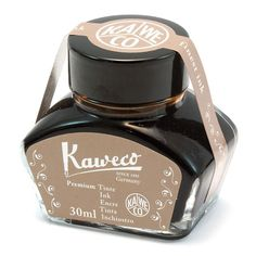 An earthy, reddish brown, the Kaweco Fountain Pen Ink Bottle, Sepia has an elegant and subdued writing presence, working especially handsomely with off white stationery in shades of cream, parchment a