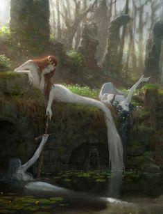 Mythical Creatures Art, Mythological Creatures, Fantasy Creatures, Dark Fantasy Art, Fantasy Artwork, Fairytale Art, Mermaid Art, Fantasy Landscape, Fairy Art