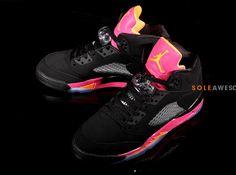 wholesale dealer 973ea c1eac Air Jordan V Retro GS Black Bright Citrus Fusion Pink Air Jordan Sneakers,  Cheap Sneakers