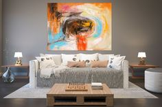 Items similar to Original Painting Large Paintings,Large Abstract Painting,original painting,large original,oil large painting on Etsy Red Headboard, Vintage Style Wallpaper, Red Bedding Sets, Red Armchair, Gold Canvas, Large Canvas, Canvas Art, Red Rooms, Large Painting