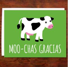 Moo-chas Gracias Card by Mr. Sogs Creatures. American Made. See the designer's work at the 2016 American Made Show, Washington DC. January 15-17, 2016. americanmadeshow.com #americanmade, #americanmadeshow, #cow, #card