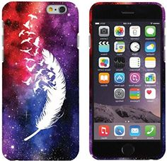 """myLife White, Red, and Purple {Galaxy Feather with Flying Birds} 2 Piece Snap-On Rubberized Protective Faceplate Case for the NEW iPhone 6 (6G) 6th Generation Phone by Apple, 4.7"""" Screen Version """"All Ports Accessible"""" myLife Brand Products http://www.amazon.com/dp/B00U2VHB2W/ref=cm_sw_r_pi_dp_o8xhvb1HVA5J3"""