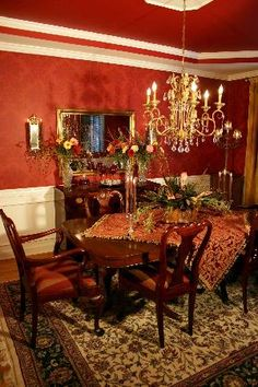 Red Baroque Dining Room