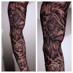 Energizing lion and rose tattoo on sleeve tats lion, rose tattoo, tattoos. Lion Tattoo Design, Flower Tattoo Designs, Tattoo Designs For Women, Sleeve Tattoos For Women, Tattoos For Guys, Tiffany Blue, Lion And Rose Tattoo, Lion Head Tattoos, Tatoos