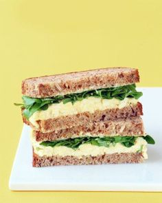 Classic Egg Salad Recipe from Martha Stewart Living: 8 hard-cooked eggs, peeled, chopped cup mayonnaise 2 tablespoons celery, chopped 2 teaspoons Dijon mustard Few dashes hot-pepper sauce Salt and pepper Lettuce or watercress Bread or toast Wrap Recipes, Egg Recipes, Lunch Recipes, Salad Recipes, Cooking Recipes, Publix Recipes, Sandwiches For Lunch, Sandwich Recipes, Salad Sandwich