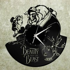 Beauty and the Beast Wall Clock, Disney Wall Clock, Beauty and the Beast Art, Disney Wall Decal, Unique Disney Clock, Record Wall Clock by VinylShopUS on Etsy https://www.etsy.com/listing/502292081/beauty-and-the-beast-wall-clock-disney