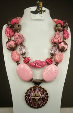 """""""Pink & Copper Longhorn"""" Cowgirl Western Necklace in COPPER / PINK by www.CayaCowgirlCreations.etsy.com - $55.00"""
