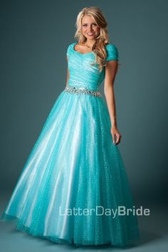 Beautiful modest prom dresses! Would be great in white for the bride.