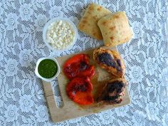Lemon Chicken and Roasted Red Pepper Sandwiches with Feta and Cilantro Pesto