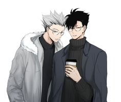 Haikyuu!! Kuroo and Bokuto in casual and glasses!.