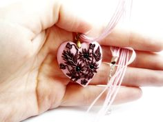 Valentine day vintage antique bronze Appliqué flower pendant necklace pink and red heart Polymer Clay, handmade. $29.00, via Etsy.