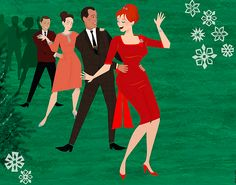 Mad Men Christmas Party - Joan Holloway leading Conga Line. by Dyna Moe Retro Christmas, Vintage Christmas Cards, Christmas Past, Christmas Artwork, Christmas Parties, Mad Men Party, Joan Holloway, Don Draper, Mad World