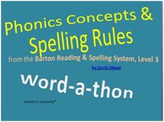 This Jeopardy-style game will help your students review the concepts taught in Level 3 of the Barton Reading & Spelling System by Susan Barton. The game can be played by one student with a tutor or by multiple students. The question categories include: --Blend, Digraph, or Unit --Type of Syllable (Closed, Unit, or Neither) --What's My Rule? (based on rules taught in Level 3) --Spellings of /k/ --Decode (audio file included for each word) Word-a-thon (Jeopardy style): Barton Reading ...