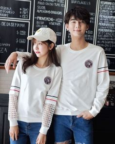 Slim Korean style couple clothes round neck T-shirt Couple Clothes, Couple Outfits, Couple Shirts, Cheap Clothes, Korean Outfits, Korean Style, Neck T Shirt, Korean Fashion, Graphic Sweatshirt