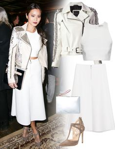 Jamie Chung makes a white midi and crop top (and a serious studded motorcycle jacket) look amazing