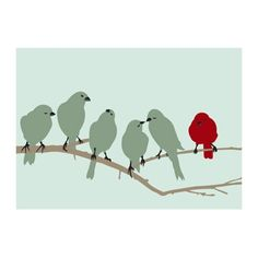 Little Birdies on a Branch 5x7 Print  Red Parchment by pixiepixels, $8.49