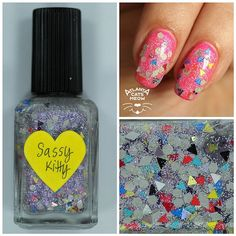 atlcatsmeow #lynnderella LE Sassy Kitty is made with assorted matte greys accented with black, white, yellow, red, turquoise, blue and silver holographic triangles. Clear pink- and blue-shimmered base with holographic microglitter. Shown over #popbeauty neon pink. #lovelynnderella