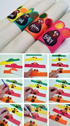 Turkey Napkin Rings from Fingerprints  | Click for 30 DIY Thanksgiving Crafts for Kids to Make | Easy Thanksgiving Crafts for Toddlers to Make