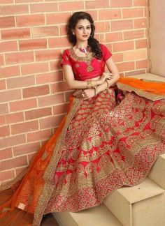 Mustard Dark Pink Embroidery Resham Work Silk Net Designer Wedding Lehenga Choli http://www.angelnx.com/Lehenga-Choli/Wedding-Lehenga-Choli