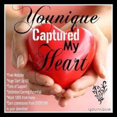 Younique captured my heart, let it capture your's! Start today & get paid TONIGHT! Daily pay, 100% online, bonuses, FREE PRODUCTS, FREE WEBSITE & NOy AUTO-SHIP! On top of all that, you get an AMAZING kit at sign up for just $99 w/ no other fees EVER! Contact me to get started! Www.youniqueproducts.com/hollyweiss