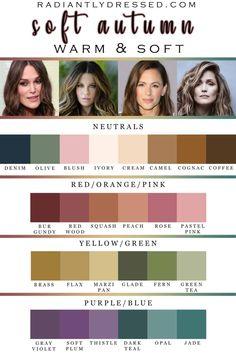 Soft Autumn Makeup, Soft Autumn Color Palette, Skin Color Palette, Soft Summer Palette, Autumn Colours, Soft Summer Makeup, Warm Colors, Soft Autumn Deep, Dark Autumn