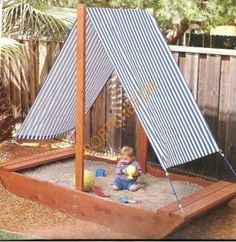 "Cute sandbox ideas for your backyard. Bateau Sandbox, ""Sandbox - I want the roof of this to be the roof of Madison's play house."