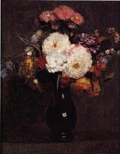 Dahlias, Queens Daisies, Roses and Corn Flowers - Henri Fantin-Latour