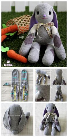 DIY Adorable Long Ear Sock Bunny Free Sew Pattern & Tutorial I love this super adorable sock bunny, kids will love to snuggle with these soft cuties, too. You can make this quickly and easily with your kids most favorite socks,… Sock Crafts, Bunny Crafts, Easter Crafts, Crafts With Socks, Diy Crafts, Upcycled Crafts, Sewing Patterns Free, Free Sewing, Bear Patterns