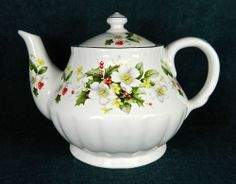 CALEDONIA POTTERY STAFFORSHIRE ENGLAND POTTERY TEAPOT - PINK FLOWERS AND HOLLY