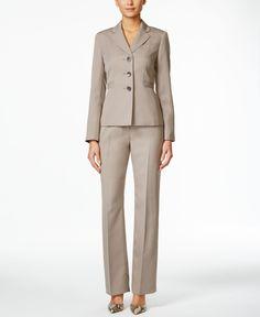Le Suit Three-Button Pinstriped Pantsuit