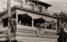 Theodore Roosevelt campaigning for President of The United States at the Dew Hotel in 1912 in Nelsonville, Ohio.