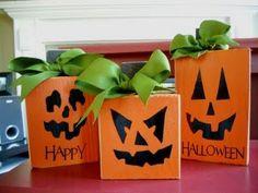 Cute wooden pumpkins  Halloween