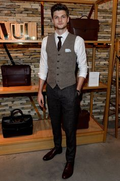 When: 6 January 2014 Where: Mulberry Celebrates London Collections: Men, London, UK Wearing: Topman waistcoat, Burberry waistcoat and Loake shoes