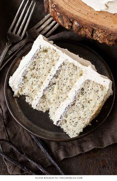 Poppy Seed Cake - poppy seed studded cake with vanilla bean frosting and poppy seed filling | by Olivia Bogacki for TheCakeBlog.com