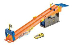Hot Wheels Team Hot Wheels Rooftop Race Garage Playset by Mattel. $14.63. Includes 1 die-cast vehicle. Kids can tune up their vehicles then race to see who is best. Celebrating the classic car garage with a twist. Folds up into carrying case to take the fun on the road. Features a track play set with push-around play. From the Manufacturer                Hot Wheels Team Hot Wheels Rooftop Race Garage Play set: This set celebrates the classic garage car theme with a twist:...