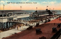 """Bath Houses and Boulevard, Galveston, Texas. George Fuermann """"Texas and Houston"""" Collection, 1836-2001. Special Collections, University of Houston Libraries (Public Domain)."""