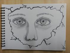 Mirada tras el papel. Dibujo en grafito.